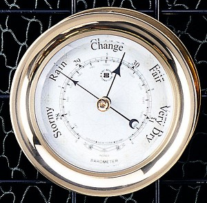 Brass Interchangeable German Barometer With Rose Dial Face T.P.