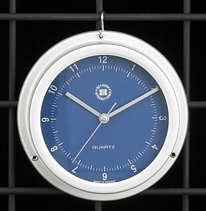 Ocean Blue Dial Wall Clock with Silver Case T.P.