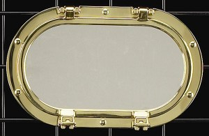 Large Horizontal Solid Brass Porthole Mirror T.P.