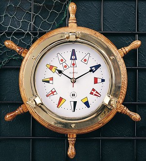 Brass Oak Ship's Wheel Marine Numeral Wall Clock T.P.