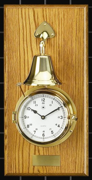 Brass Ship's Bell Striker Wall Clock on Oak Base T.P.
