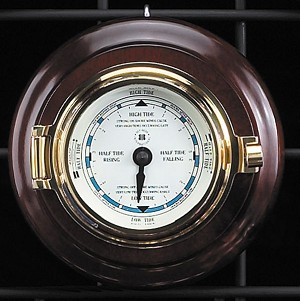 Brass Porthole Tide Clock on Teak Wood Base T.P.