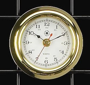 Small Brass Porthole Wall Clock with Beveled Glass T.P.