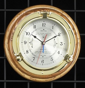 Brass Porthole Tide and Time Wall Clock on Oak Wood Base T.P.