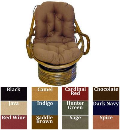 Papasan Swivel Rocker Cushions Duck Fabric Black Dining