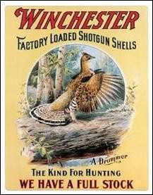 Winchester Drumming Grouse Tin Sign