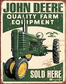 John Deere Sold Here Tin Sign