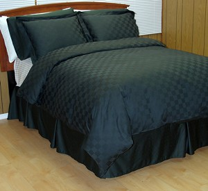 8 Piece Black Checkered Egyptian Cotton Down Alternative Bed In A Bag