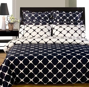 Navy And White Bloomingdale 9 Piece Egyptian Cotton Down Alternative Bed In A Bag