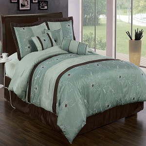 Grand Park Aqua Blue 11 Piece Bed In A Bag