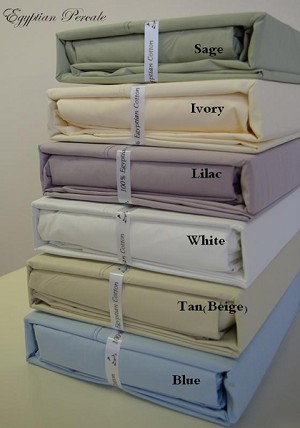 California King Size 300 Thread Count Egyptian Cotton Percale Sheets