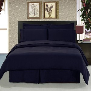 Solid Navy 8 Piece Soft Microfiber Bedding Set