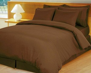 Chocolate Damask Stripe 600 Thread Count Egyptian Cotton Down Alternative Comforter Set