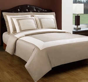 5 Piece King/California King Beige And Ivory 300 Thread Count Egyptian Cotton Duvet Cover Set