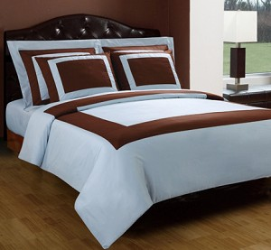 3 Piece Twin Blue And Chocolate 300 Thread Count Egyptian Cotton Duvet Cover Set