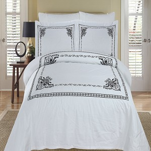 Athena White And Black Embroidered Full/Queen Egyptian Cotton 3 Piece Duvet Cover Set