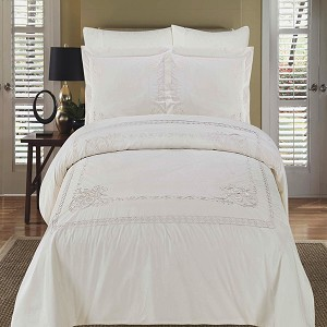 Athena White Embroidered Full/Queen Egyptian Cotton 3 Piece Duvet Cover Set