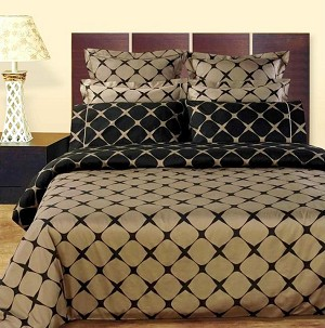 Taupe And Black Bloomingdale 8 Piece Egyptian Cotton Duvet Cover And Sheet Set
