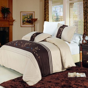Celeste Embroidered Full/Queen Egyptian Cotton 3 Piece Duvet Cover Set