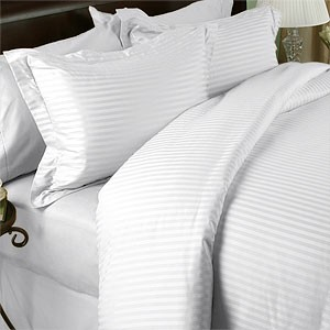 3 Piece King/California King Sateen Stripe 300 Thread Count Egyptian Cotton Duvet Cover Set