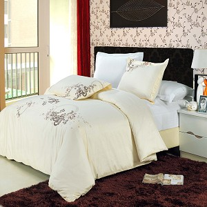Sophia Embroidered Full/Queen Egyptian Cotton 3 Piece Duvet Cover Set