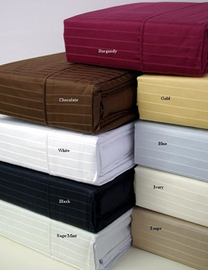 Full Or Double Size 300 Thread Count Egyptian Cotton Sheets Pin Striped