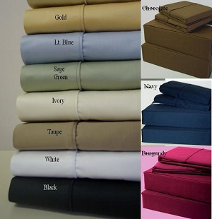 Queen Size 600 Thread Count Egyptian Cotton Super Deep Pocket Sheets Solid