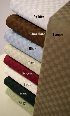 Queen Size 300 Thread Count Egyptian Cotton Sheets Checkered