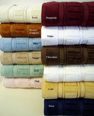 6 Piece Striped Egyptian Cotton Towel Set