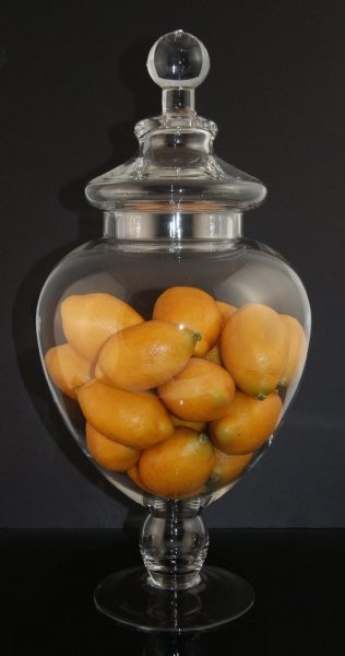 Fake Food Lemons In Tall Glass Apothecary Jar