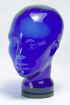 Glass Mannequin Head Cobalt Blue