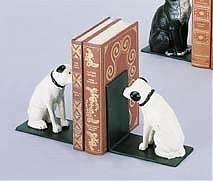Cute Mixed Breed Bookends Look Like Nipper Listening To The Phonograph