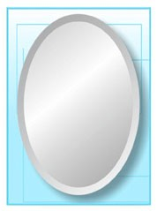 "Oval Frameless Mirror 24"" x 48"""