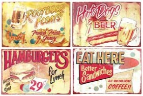 Retro Food Advertising Metal Signs Set of 4