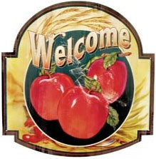 Apple Welcome Metal Sign