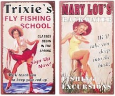 Pin Up Fishing Metal Signs Set of 2