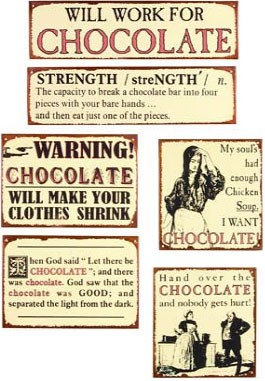 Chocolate Lovers Metal Signs Set of 6