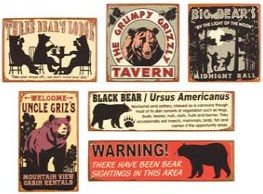 Big Bear Metal Signs Set of 6