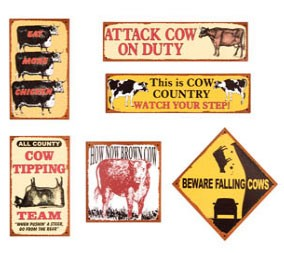 Cow Country Metal Signs Set of 6
