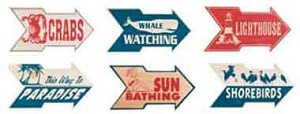 Beach Arrow Signs Set of 6