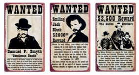 Wild West Wanted Posters Metal Signs Set of 3