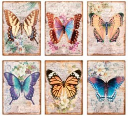 Vintage Butterfly Metal Signs Set of 6