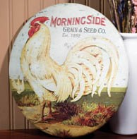 Round Rooster Metal Sign