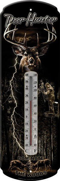 Deer Hunter Decorative Outdoor Thermometer