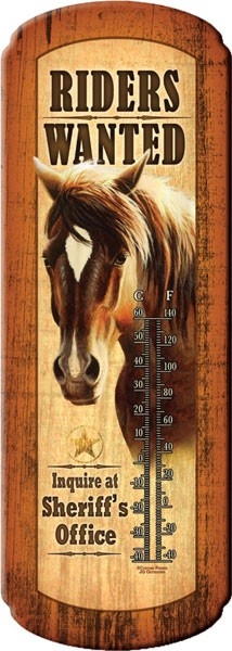 Riders Wanted Decorative Outdoor Thermometer