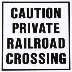Caution Private Rail Road Crossing (White) Metal Sign