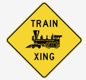 Train Xing (Old Fashion Engine) Metal Sign