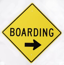 Boarding With Right Arrow Yellow Metal Sign