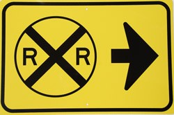 RR With Right Arrow Yellow Metal Sign