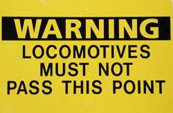 Warning Locomotives Must Not Pass This Point (Yellow) Metal Sign